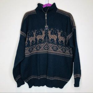Dale of Norway 1/4 Zip 100% Wool Knit Sweater MED